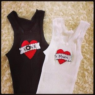Funky baby singlets with felt 'tattoo'! $15.00ea, any name or word possible...