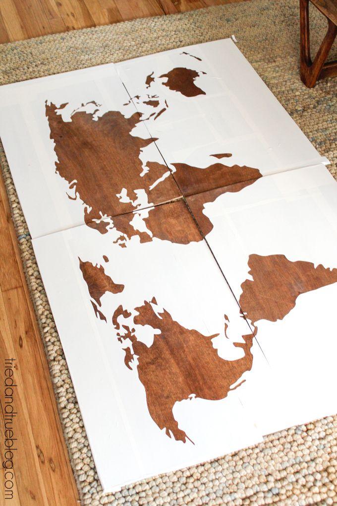 World Map Wall Art DIY - Contact Paper