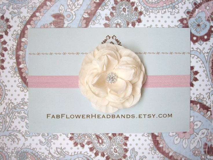 Ivory Cream Flower on Pink Headband  All by fabflowerheadbands, $12.95