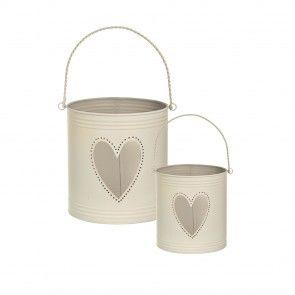 Set 2 vasi in metallo porta candela e oggetti