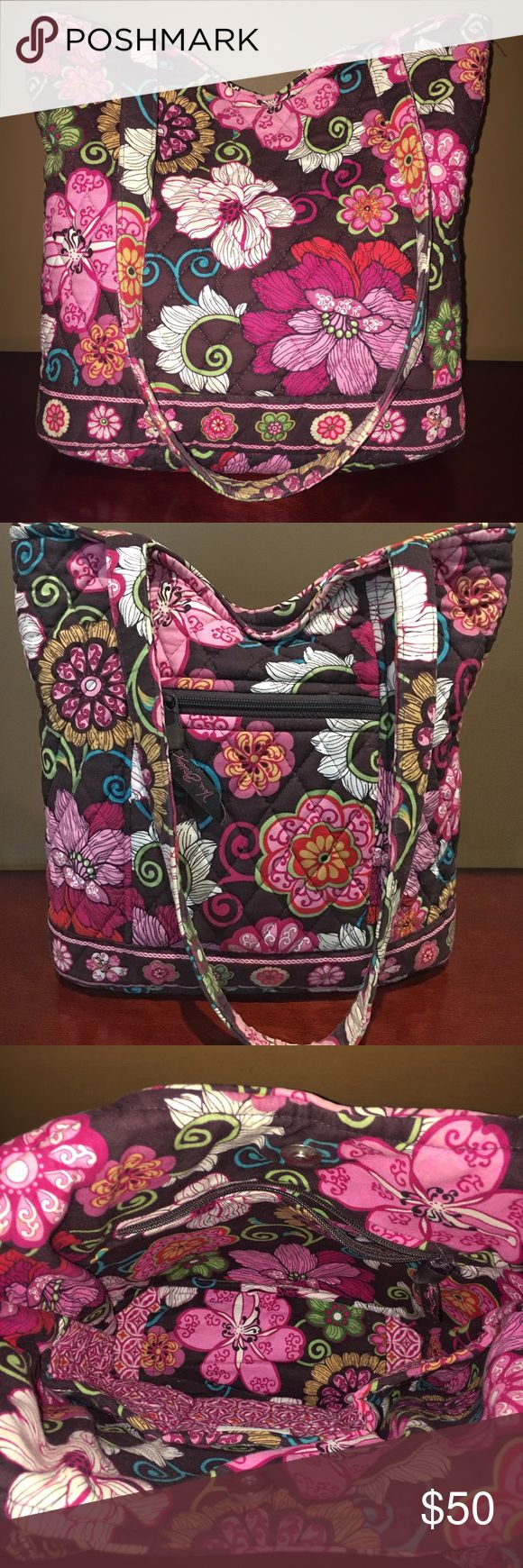 SALE!! Vera Bradley Mod Floral Pink Bucket Tote Retired mod floral pink pattern Vera Bradley bucket tote in excellent condition! Tote has magnetic closure and outside zippered pocket. Inside has large zippered pocket, 3 open slip pockets, and lots of space for your belongings! Vera Bradley Bags Totes