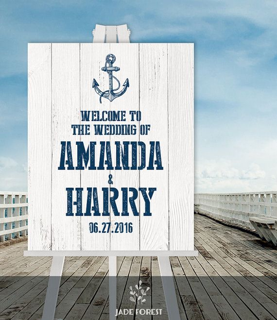 Nautical Wedding Welcome Sign DIY // Welcome To Our Wedding  Nautical Sign, Navy Anchor Printable PDF // Nautical Planks ▷ Personalized Sign