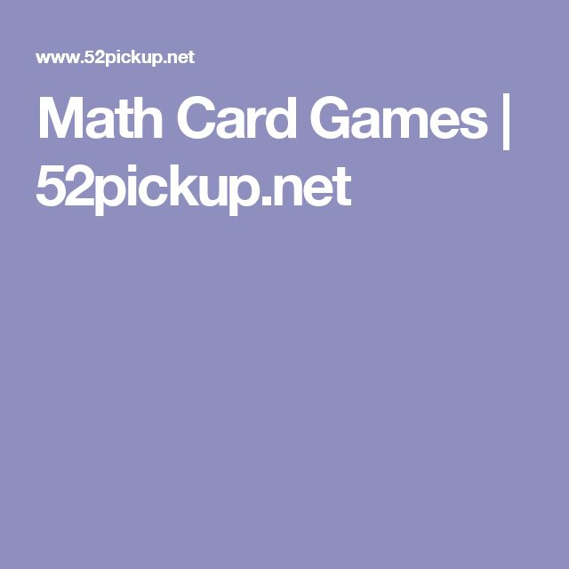 Math Card Games | 52pickup.net