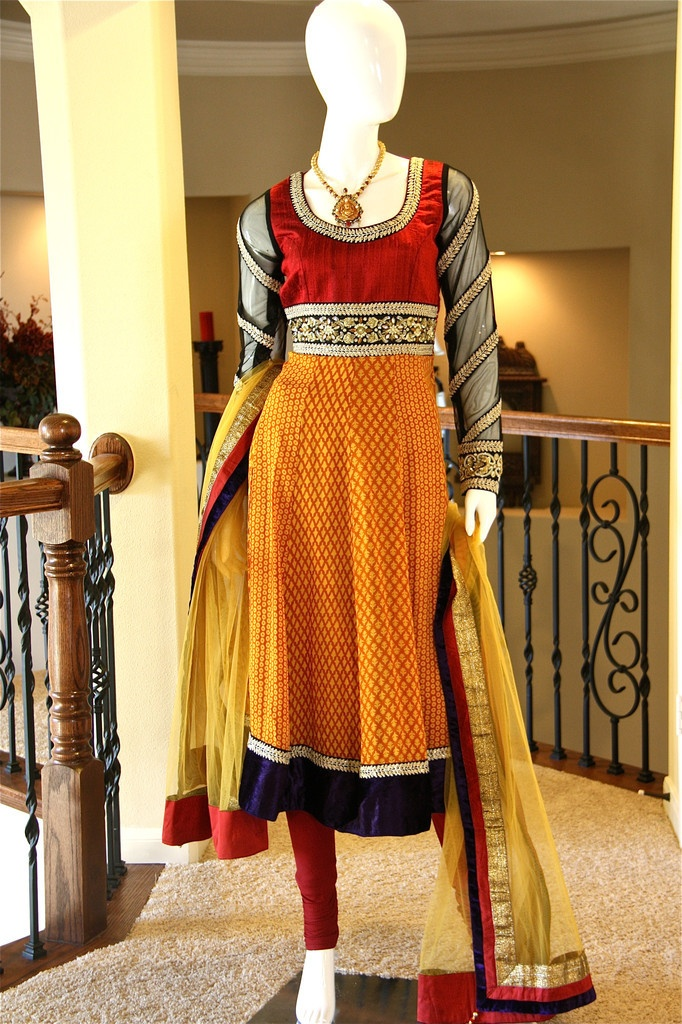 Mustard Yellow Red Anarkali, stunning traditional color combo