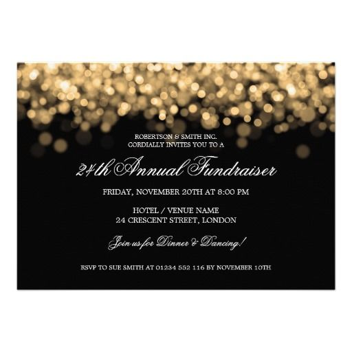 Elegant Corporate Fundraiser Gold Lights Custom Invite  Corporate Invitation Template