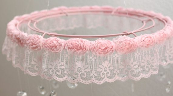 Crystal Mobile with Lace Trim, Crystal Baby Mobile, Pink Baby Mobile, Chandelier…