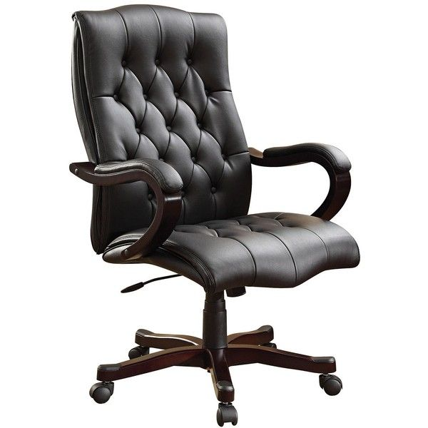 Exceptional Office Star Dixon Black Bonded Leather Executive Desk Chair ($400) ❤ Liked  On Polyvore