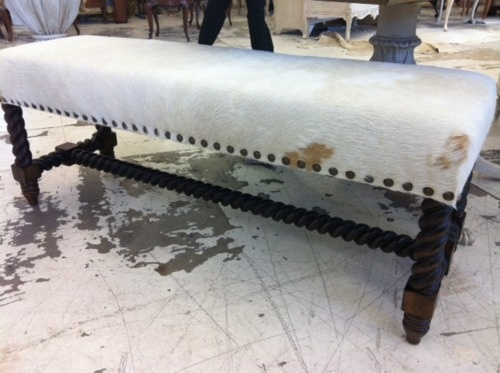 Cow hide bench #antiquing, Day bed covered in cow hide.