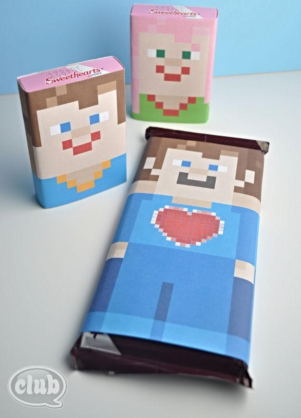 Printable Minecraft Candy Wrapper Valentines