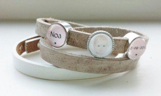 Cuoio geboorte-armband met foto, naam en geboortedatum van je eigen kindje(s). Bestel via www.love2have.nl