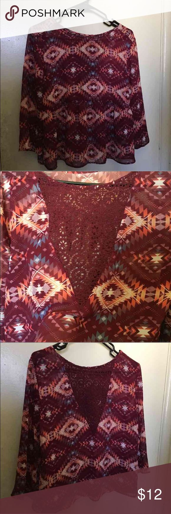 Fall Hipster Shirt This shirt is perfect for fall and spring season for the colors is see through but you can wear a shirt under also has a cute and sexy back. Arizona Jean Company Tops Blouses