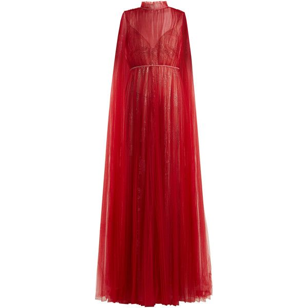 Valentino Sleeveless tulle-overlay and lace gown ($12,600) ❤ liked on Polyvore featuring dresses, gowns, valentino, dark red, tulle gown, red dress, dark red dress, red lace dress and lace ball gown