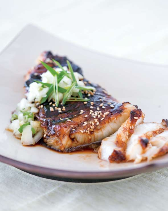 Super simple yet super stunning, this fancy-pants,  pan-seared, soy-glazed sea bass with cucumber salsa will rock your world.