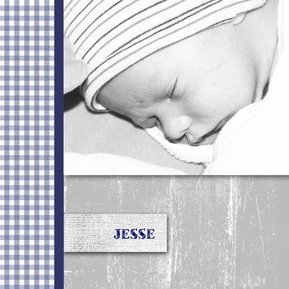 Stoere geboortekaart met ruitjes en foto - Geboortekaartjes - Kaartje2go
