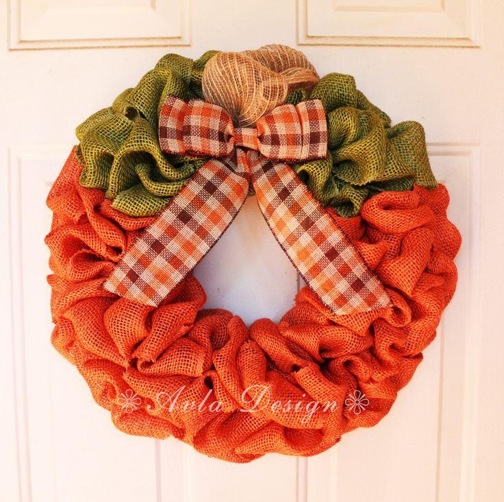 Adorable pumpkin wreath for fall autumn! https://www.etsy.com/listing/483246121/pumpkin-wreath-pumpkin-burlap-fall