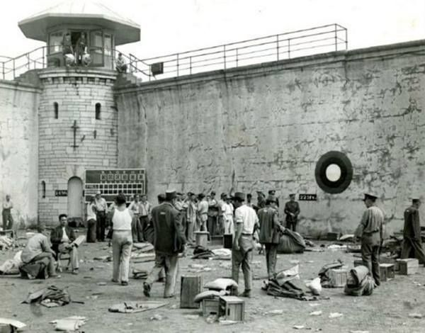 Aftermath of the 1954 riot at Kingston Penitentiary. Kingston, Ontario. Source: Vintage Kingston.