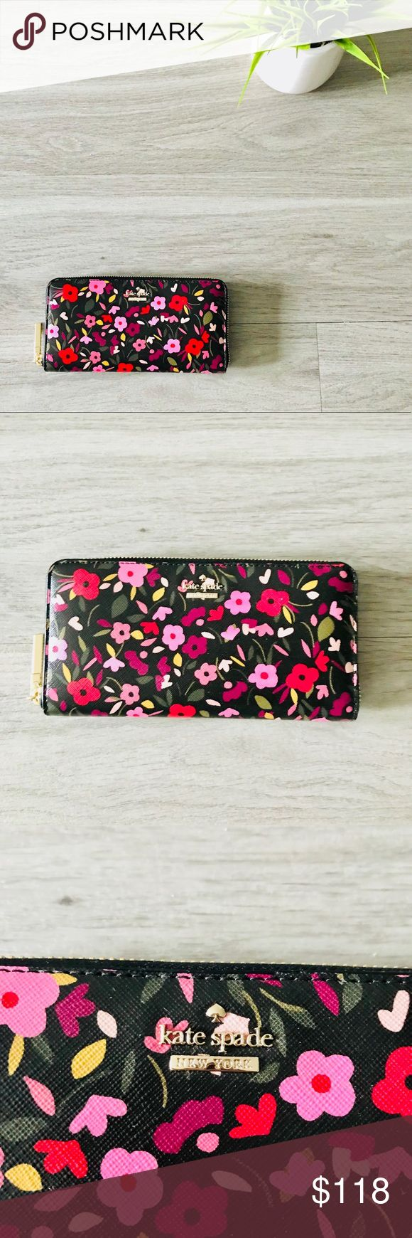 """NWOT! Kate Spade Boho Floral Lacey Wallet Kate Spade Cameron Street Boho Floral Zip Lacey Wallet Large   Material  Crosshatched Leather with matching trim, book stripe print on poly twill lining, 14 karat gold plated hardware   * zip around continental wallet * 12 credit card slots, 2 billfolds, zipper change pocket and exterior slide pocket   4""""h x 7.6"""" w x 0.8""""d kate spade Bags Wallets"""