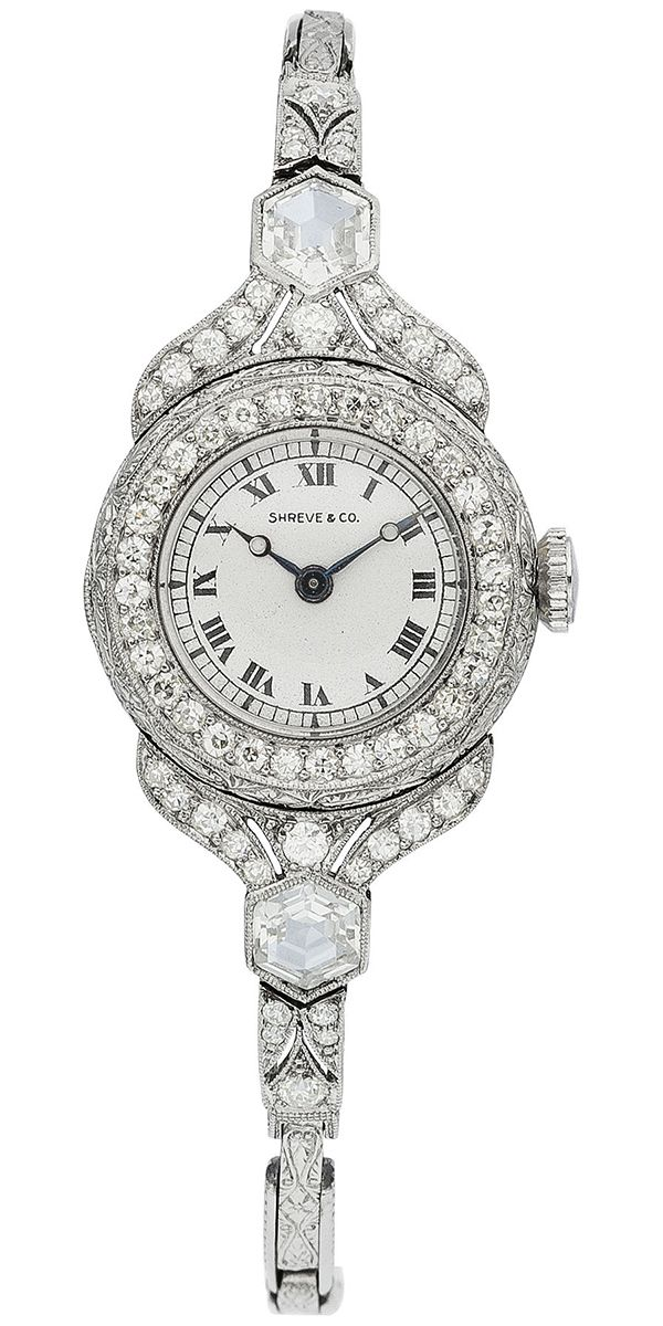 Art Deco Swiss Lady's Diamond, Platinum Wristwatch, circa 1915