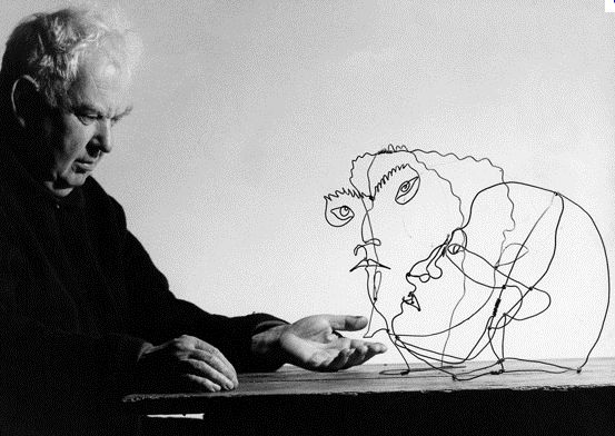 Alexander Calder. THE contemporary artist to use with anything wire related. Whattaguy