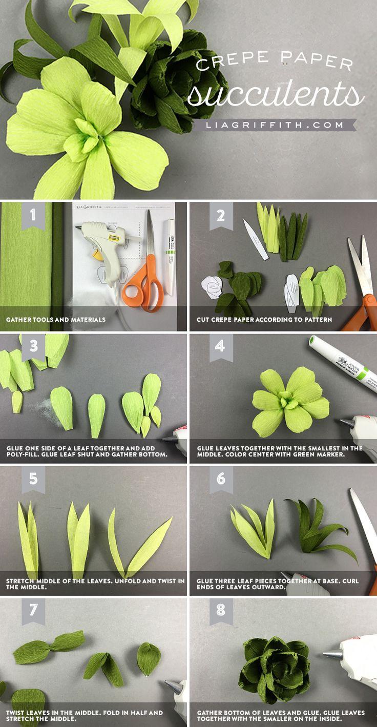 Crepe Paper Succulents Tutorial                                                                                                                                                                                 More