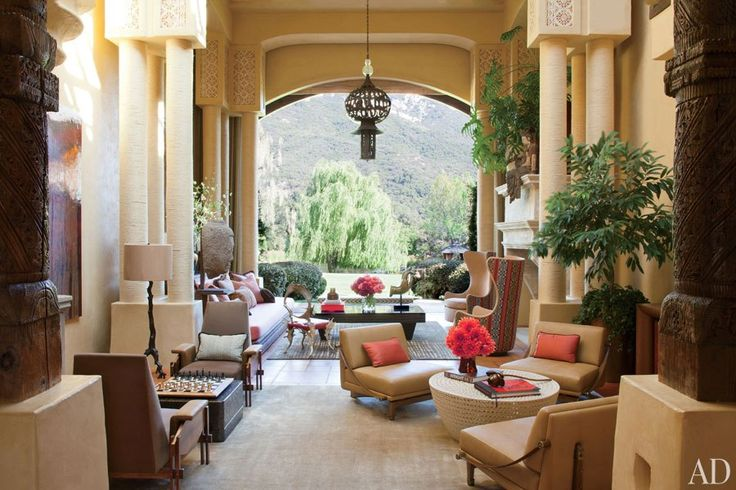 Will and Jada Pinkett Smith's double height living room looks out over the Southern California landscape.