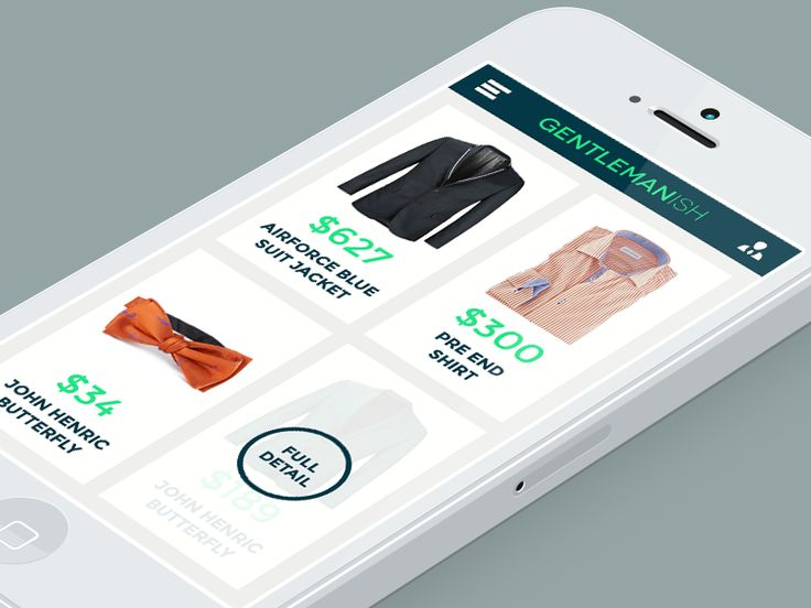 Gentlemanish Shopping UI by Rikke Gantzel