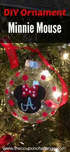 Super cute Disney Christmas Tree Ornament. Make a Homemade Minnie Mouse Ornament or skip the bow and make a Mickey Mouse ornament.