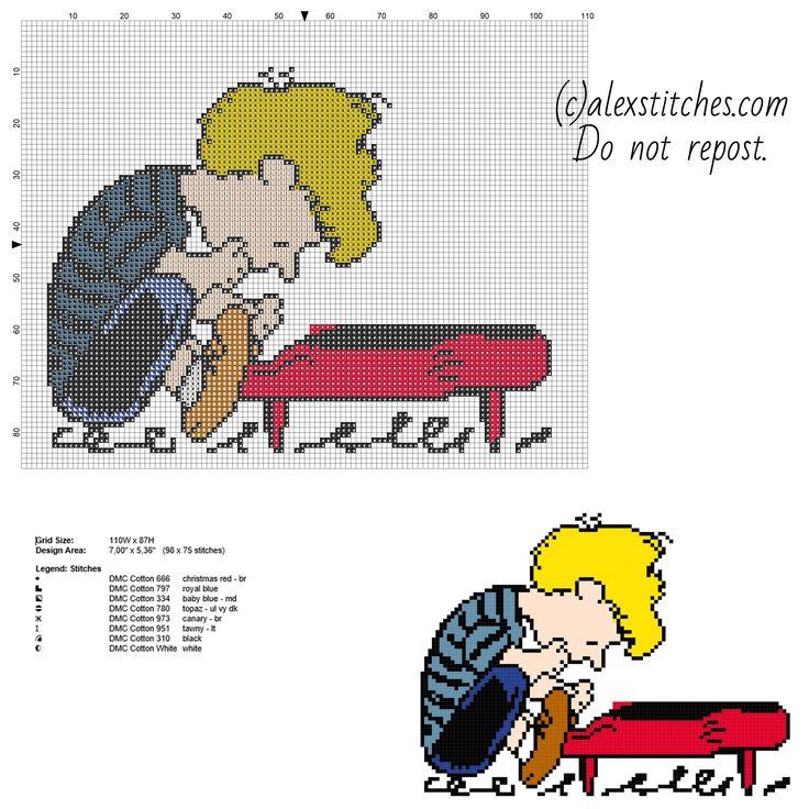 Schroeder Peanuts cartoon character free cross stitch pattern - free cross stitch patterns by Alex