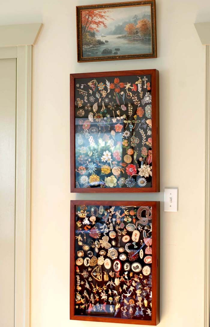 How to display a collection of costume jewelry brooches.