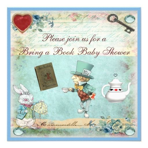 Bring a Book Alice in Wonderland Baby Shower Custom Invitation