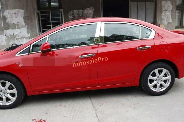 (80.00$)  Buy here  - Stainless Steel Top+Bottom Full Window Sill Frame Molding  Trim For Honda Civic 2012