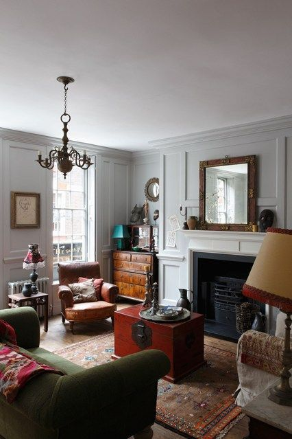 New Green Sofa Paired with Antiques - Beautiful Living Room Design Ideas. #Consignmnets #Antiques #NowandAgain