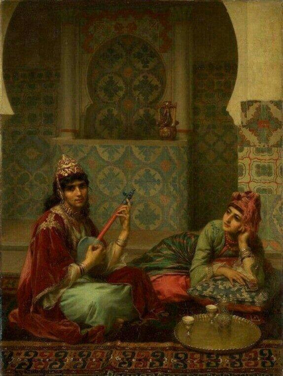 Algérie - Peintre Français Gaston-Casimir Saint-Pierre (1833-1916),Huile sur toile, Titre : Le café à l'intérieur arabe à Tlemcen