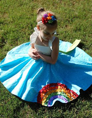 rainbow dress using circle skirt pattern, embellished with ribbons... adorable!