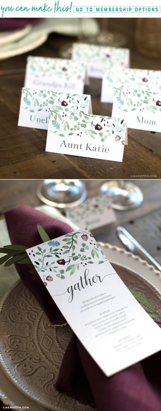 Printable Thanksgiving Menus & Place Cards - Lia Griffith - www.liagriffith.com #diyinspiration #printables #paperart #thanksgivingdinner #givethanks #diyidea #diyideas #diyfalldecor #madewithlia