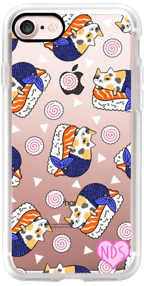 Casetify iPhone 7 Classic Grip Case - Mercat Sushi and Fishcakes by Natelle Draws Stuff #Casetify