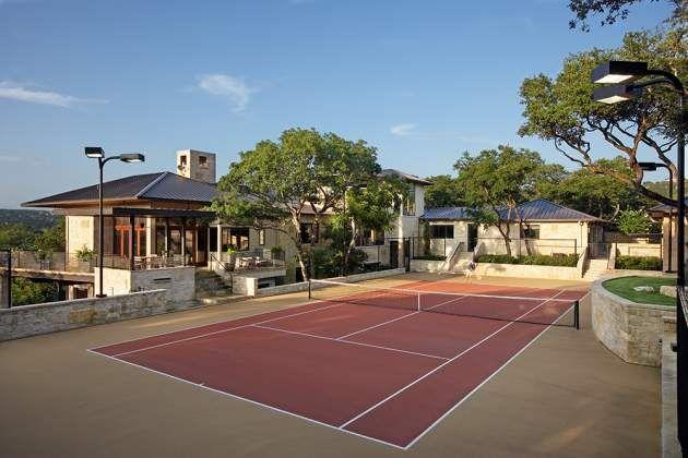 LOVE this backyard tennis court patio.  I want.
