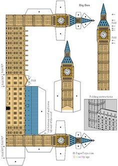 British Icons paper toys series include Big Ben, Globe Theatre, London Taxi...free downloads