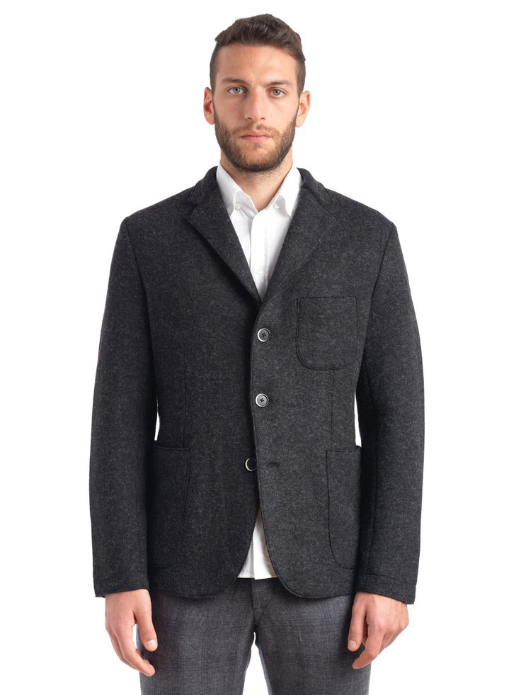 Barena Venezia - Slanegà Tv Formentera Dark Grey GIU5800001560 - The Slanega Jacket is an unstructured, three-button blazer, expertly hand-made from a premium wool blend, that promises to look great worn casually or dressed up.