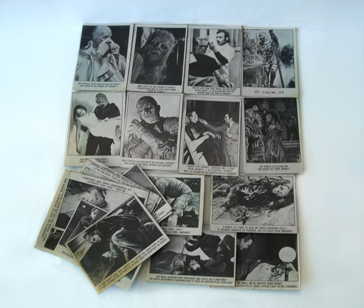 Lot of 18 You'll Die Laughing Horror Scary Ghoulish Trade Cards Universal American Pictures Co Inc OPC Printed in Canada by MargsMostlyVintage on Etsy