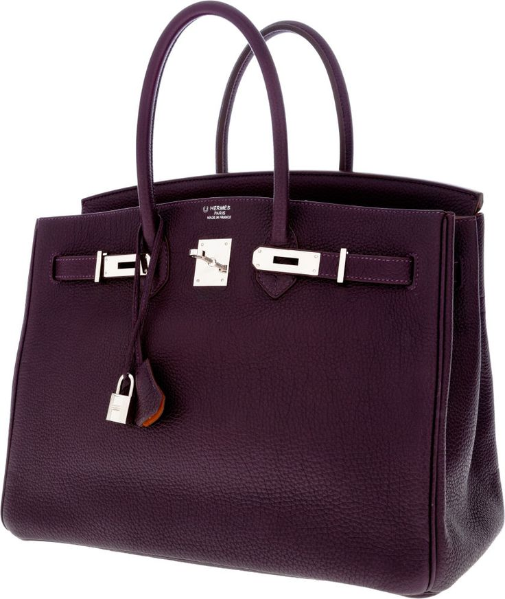 Luxury Accessories:Bags, Hermes Special Order Horseshoe 35cm Raisin & Orange H TogoLeather Birkin Bag with Palladium Hardware. ... Image #3