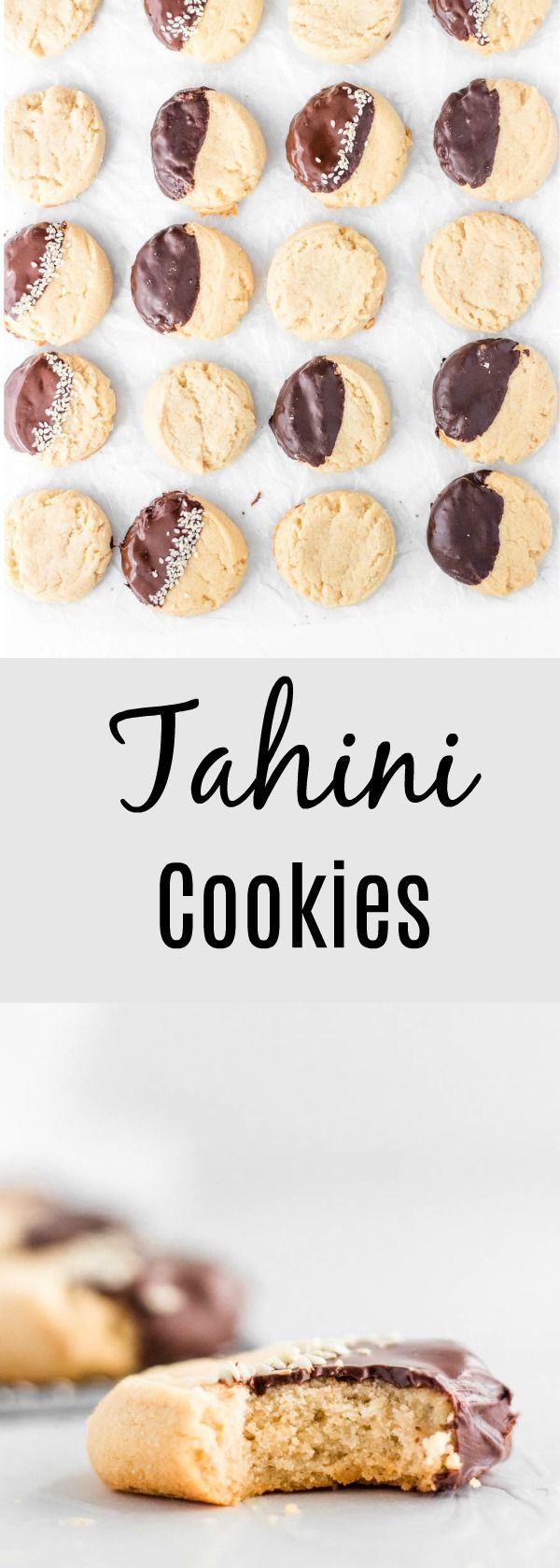 "Tahini Maple Cookies. A sweet and easy ""one bowl"" cookies kids love."