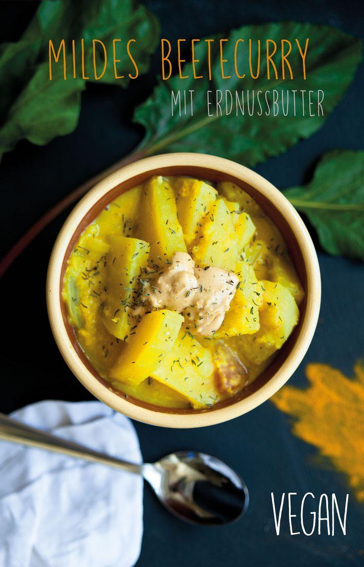 Ein mildes, veganes Curry, Eisen und Eiweißreich. Gelbe Linsen, Rote Beete, Gelbe Beete und Erdnussbutter. Kindercurry. Beete Curry vegan