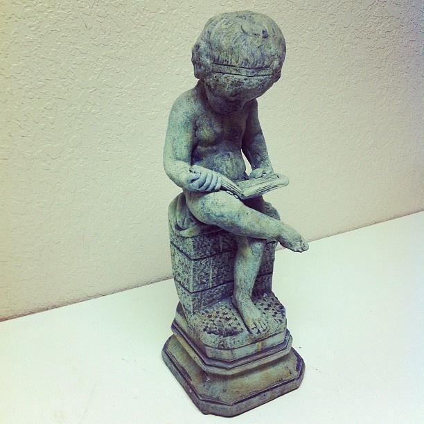 Cast Stone Boy Reading #oldworldpotteryofwichitafalls #caststone #stone #stonework #education #book #statue #boy #decor