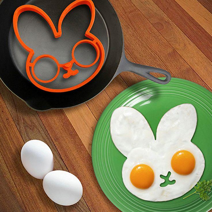 2017 1 sztuk orange silikonowe kreskówka króliczek smażone jajka smażyć rama śniadanie pancake mold narzędzie kuchnia jaj i pierścienie 140*120*15mm