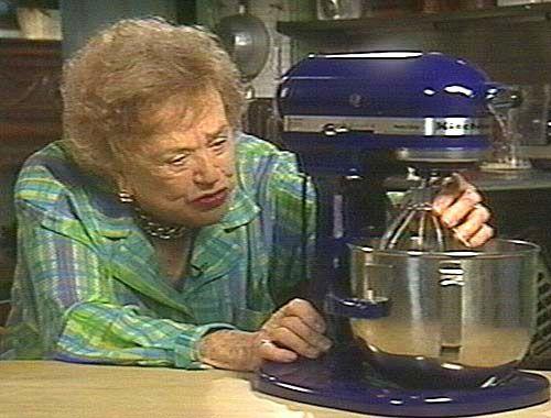 Julia Child With Her Kitchen Aid In Cobalt Blue