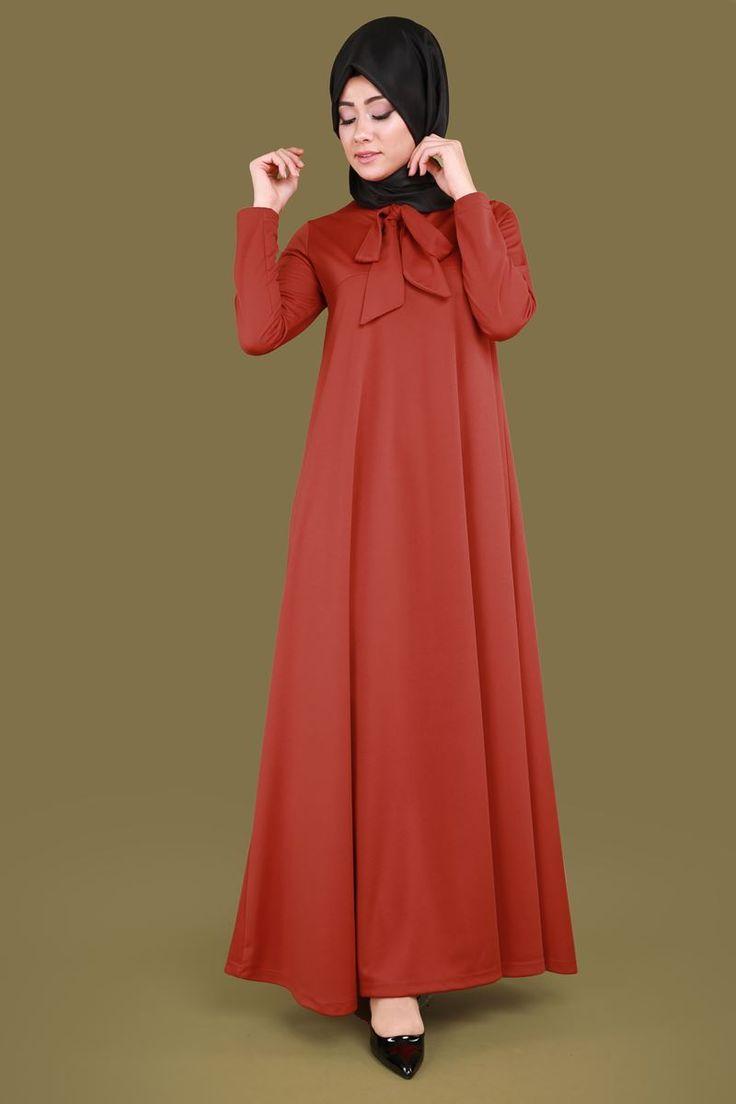 ** YENİ ÜRÜN ** Fularlı Tesettür Elbise Kiremit Ürün Kodu: UKB2085 --> 44.90 TL