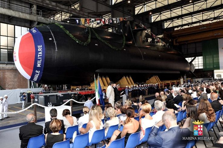 """Fincantieri's shipyard in Muggiano (La Spezia) hosted the launching ceremony for the """"Romeo Romei"""" submarine on July 4, the last of the four U212A """"Todaro"""" class twin units ordered by the Central Unit for Naval Armament – NAVARM for the Italian Navy.  After the launching, outfitting works will be continued on the unit at the Integrated Naval shipyard in Muggiano (La Spezia), leading to its delivery scheduled in the second half of 2016."""