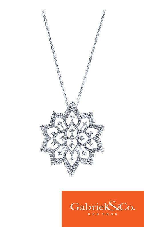 18k White Gold Diamond Fashion Necklace by Gabriel & Co,