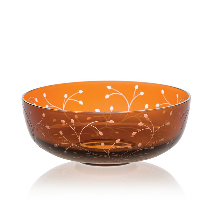Handmade glass blown Dessert Bowl, Rosehip Dark Honey 5100, height: 46 mm | diameter: 120 mm | Bohemia Crystal | Crystal Glass | Luxurious Glass | Hand Engraved | Original Gift for Everyone | clarescoglass.com